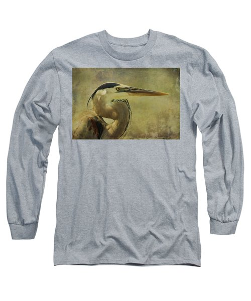 Heron On Texture Long Sleeve T-Shirt