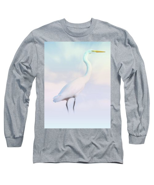Heron Or Egret Stance Long Sleeve T-Shirt by Joseph Hollingsworth