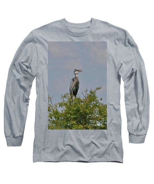 Long Sleeve T-Shirt featuring the photograph Heron Sitting In Tree by Carol  Bradley