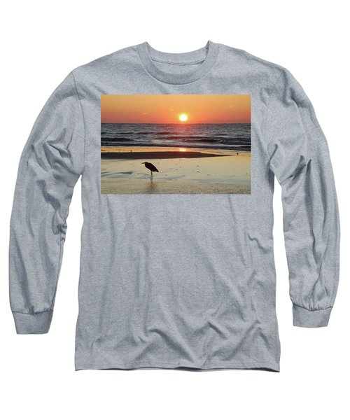 Heron Watching Sunrise Long Sleeve T-Shirt