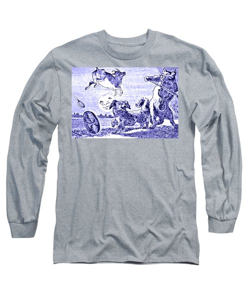 Long Sleeve T-Shirt featuring the painting Hey Diddle Diddle The Cat And The Fiddle Nursery Rhyme by Marian Cates