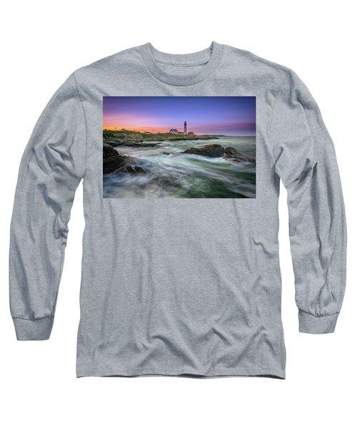 High Tide At Portland Head Lighthouse Long Sleeve T-Shirt