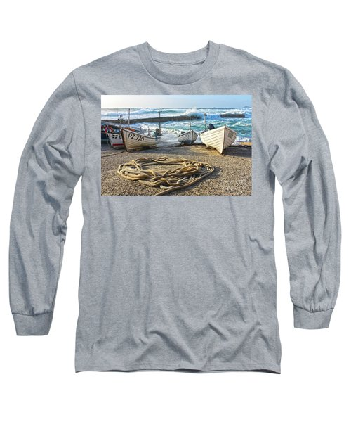 Long Sleeve T-Shirt featuring the photograph High Tide In Sennen Cove Cornwall by Terri Waters