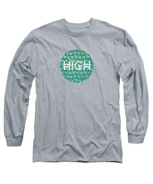 High Typo  Cannabis   Hemp  420  Marijuana   Pattern Long Sleeve T-Shirt
