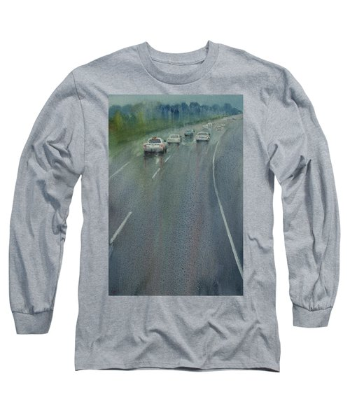 Highway On The Rain02 Long Sleeve T-Shirt by Helal Uddin