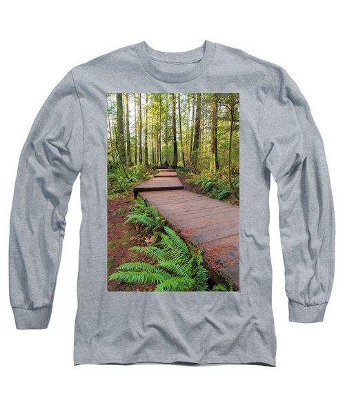 Hiking Trail Wood Walkway In Lynn Canyon Park Long Sleeve T-Shirt