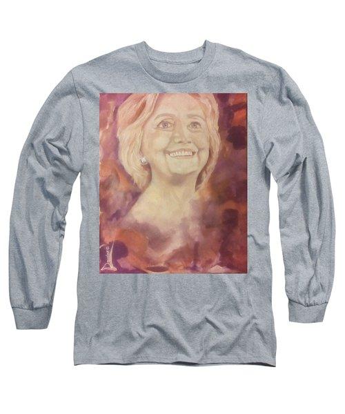 Hillary Clinton Long Sleeve T-Shirt by Raymond Doward