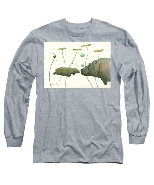Hippo Mom With Babyv Long Sleeve T-Shirt