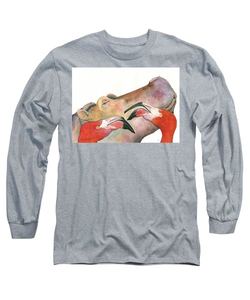 Hippo With Flamingos Heads Long Sleeve T-Shirt