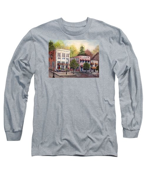 Long Sleeve T-Shirt featuring the painting Historic Blue Ridge Shops by Gretchen Allen