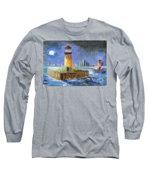 Historical 1859 South Channel Lights Full Moon Long Sleeve T-Shirt