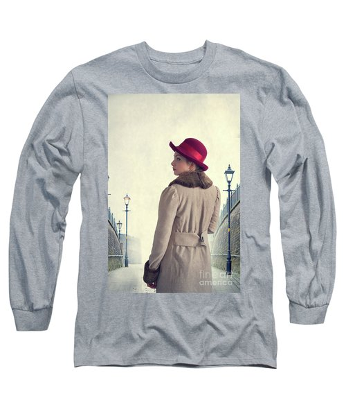 Historical Woman In An Overcoat And Red Hat Long Sleeve T-Shirt by Lee Avison