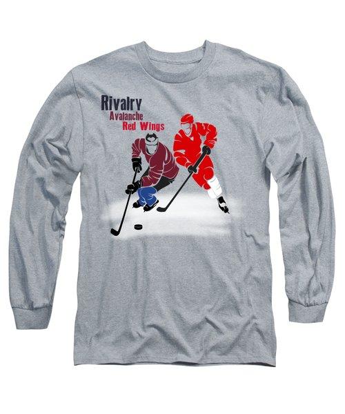 Hockey Rivalry Avalanche Red Wings Shirt Long Sleeve T-Shirt by Joe Hamilton