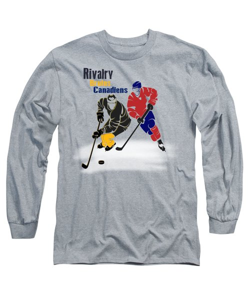 Hockey Rivalry Bruins Canadiens Shirt Long Sleeve T-Shirt by Joe Hamilton