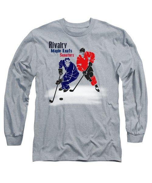 Hockey Rivalry Maple Leafs Senators Shirt Long Sleeve T-Shirt by Joe Hamilton