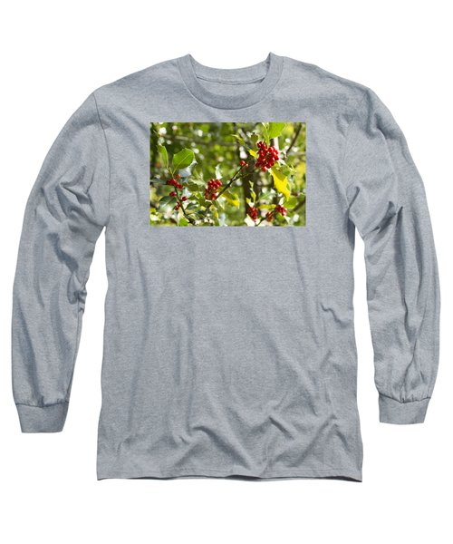 Long Sleeve T-Shirt featuring the photograph Holly With Berries by Chevy Fleet