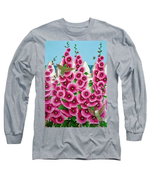 Hollyhocks And Humming Birds Long Sleeve T-Shirt by Katherine Young-Beck