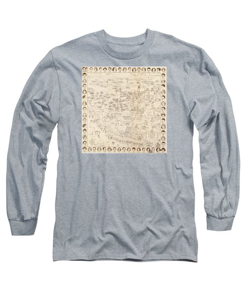 Hollywood Map To The Stars 1937 Long Sleeve T-Shirt by Don Boggs