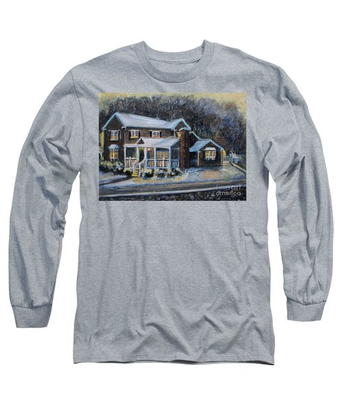 Home On A Snowy Eve Long Sleeve T-Shirt by Rita Brown