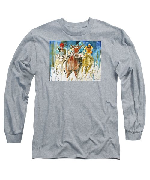 Long Sleeve T-Shirt featuring the painting Home Stretch by P Maure Bausch
