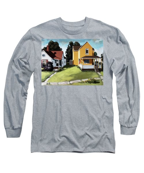 Hometown - Urban Scene Oil Painting Long Sleeve T-Shirt