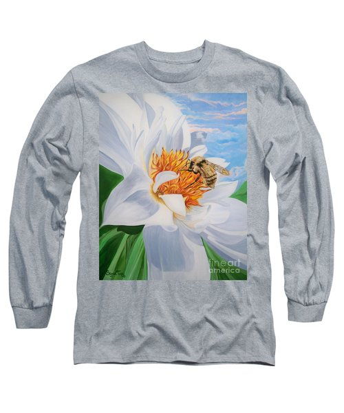 Long Sleeve T-Shirt featuring the painting Honey Bee On White Flower by Sigrid Tune