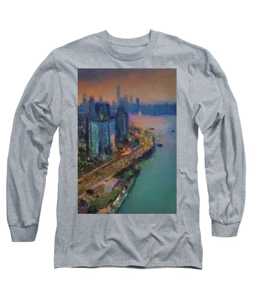 Hong Kong Skyline Painting Long Sleeve T-Shirt