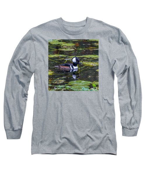 Hooded Merganser Long Sleeve T-Shirt by Jerry Cahill