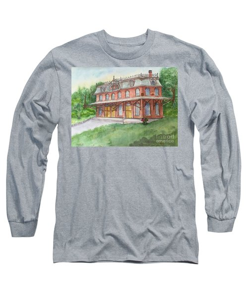 Long Sleeve T-Shirt featuring the painting Hopewell Nj Train Station by Lucia Grilletto