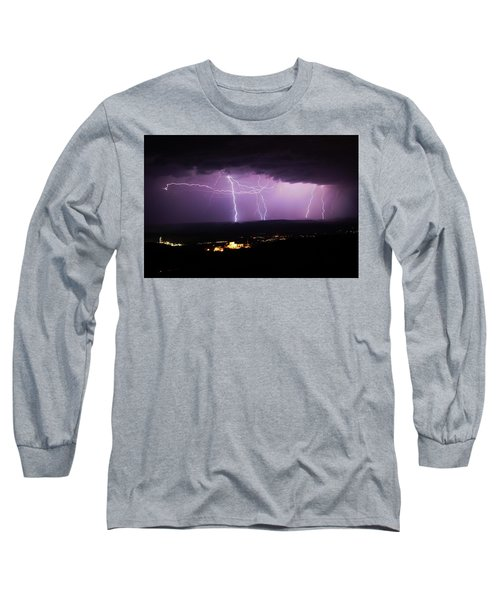 Long Sleeve T-Shirt featuring the photograph Horizontal And Vertical Lightning by Ron Chilston