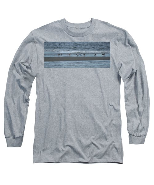 Long Sleeve T-Shirt featuring the photograph Horizontal Shoreline With Birds by Margie Avellino