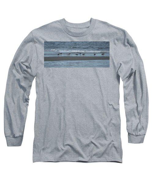 Horizontal Shoreline With Birds Long Sleeve T-Shirt