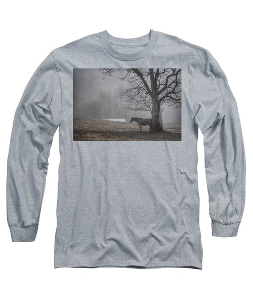 Long Sleeve T-Shirt featuring the photograph Horse And Tree by Sumoflam Photography