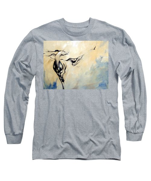 Horse Calling Crow Long Sleeve T-Shirt by Dina Dargo