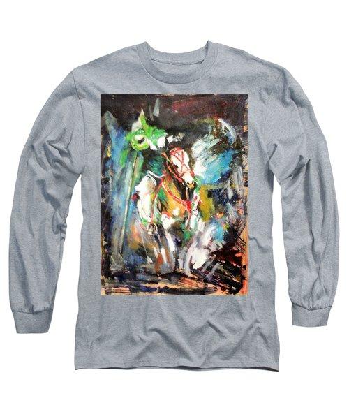 Horse,horseman And The Target Long Sleeve T-Shirt by Khalid Saeed