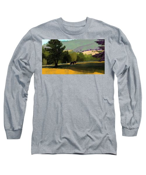 Horses In Field Long Sleeve T-Shirt by Debra Baldwin
