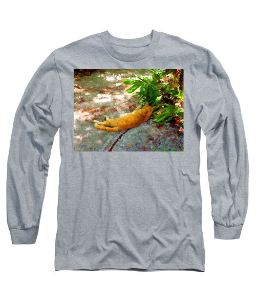 Long Sleeve T-Shirt featuring the painting Hot Cat by David  Van Hulst