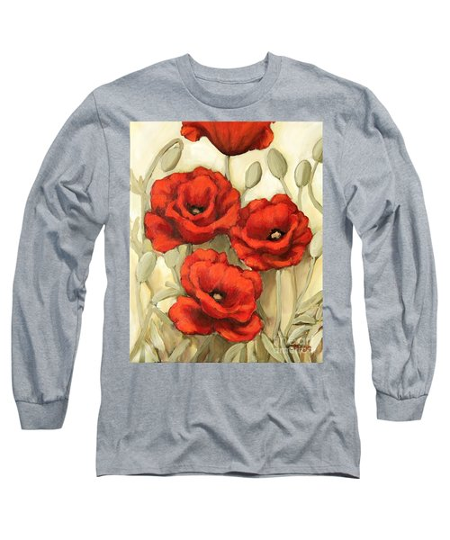 Long Sleeve T-Shirt featuring the painting Hot Red Poppies by Inese Poga
