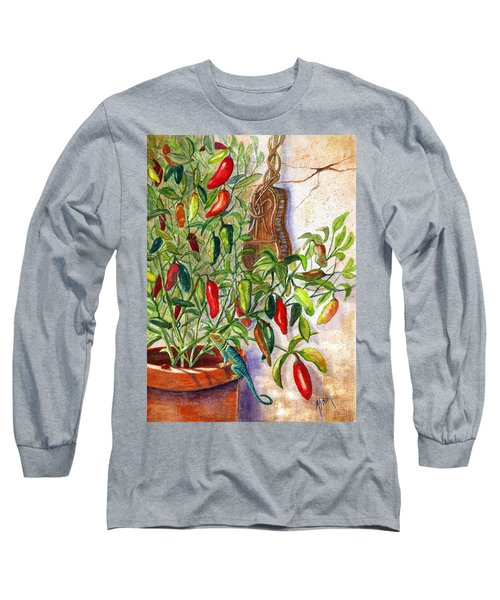 Long Sleeve T-Shirt featuring the painting Hot Sauce On The Vine by Marilyn Smith