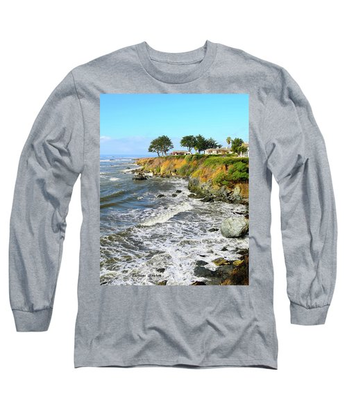 Long Sleeve T-Shirt featuring the photograph House On The Point Cayucos California by Barbara Snyder