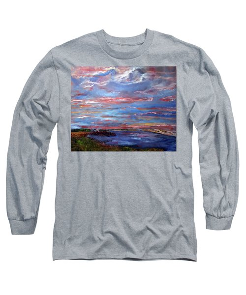 House On The Point Sunset Long Sleeve T-Shirt by Michael Helfen