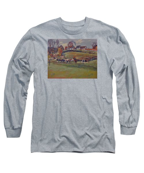 Long Sleeve T-Shirt featuring the painting Houses And Cows In Schweiberg by Nop Briex