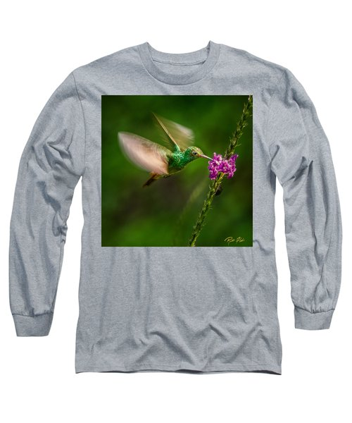 Long Sleeve T-Shirt featuring the photograph Hovering In The Vervain  by Rikk Flohr