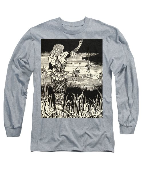 How Sir Bedivere Cast The Sword Excalibur Into The Water Long Sleeve T-Shirt