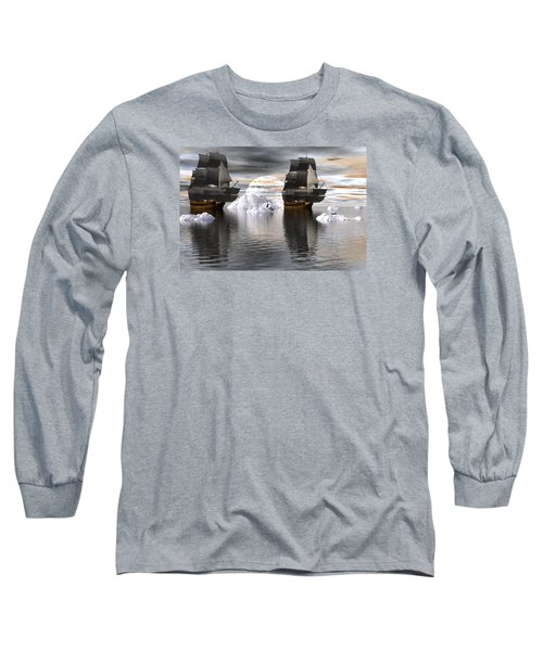 Long Sleeve T-Shirt featuring the digital art Hudson Bay Ships by Claude McCoy
