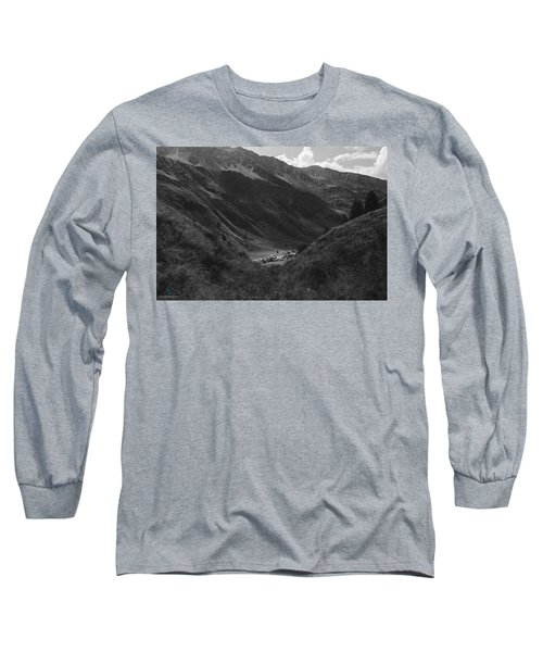Hugged By The Mountains Long Sleeve T-Shirt by Cesare Bargiggia