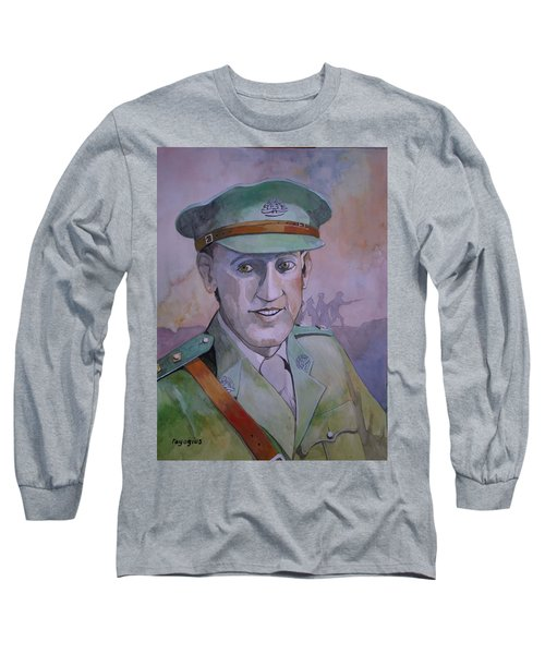 Long Sleeve T-Shirt featuring the painting Hugo Throssel Vc by Ray Agius