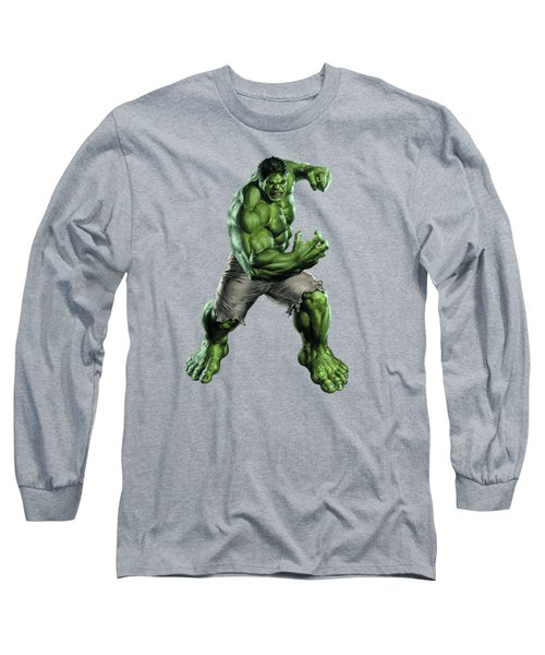 Long Sleeve T-Shirt featuring the mixed media Hulk Splash Super Hero Series by Movie Poster Prints