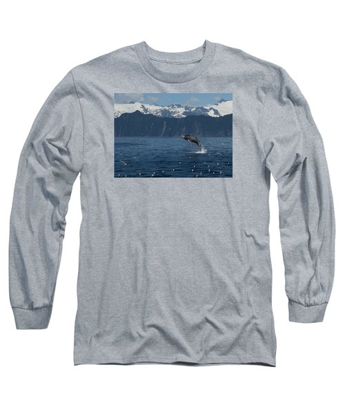 Humback Whale Arching Breach Long Sleeve T-Shirt
