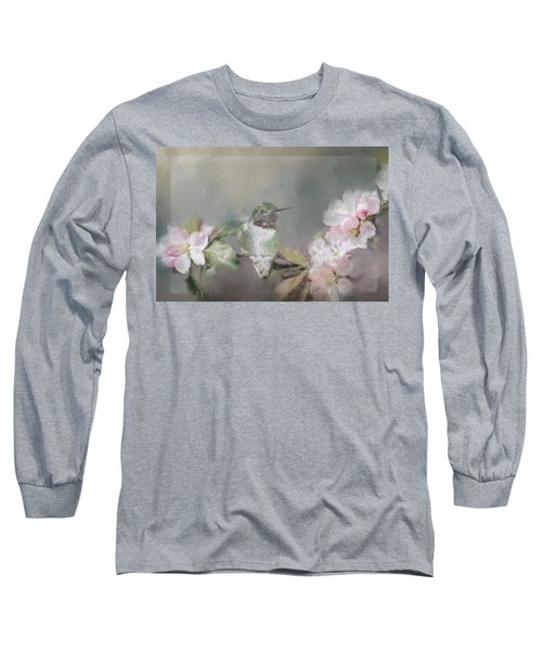 Hummingbird And Blossoms Long Sleeve T-Shirt